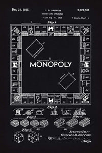 Monopoly Board Game Patent Print - 16X24 Inches / Blackboard / Art Poster