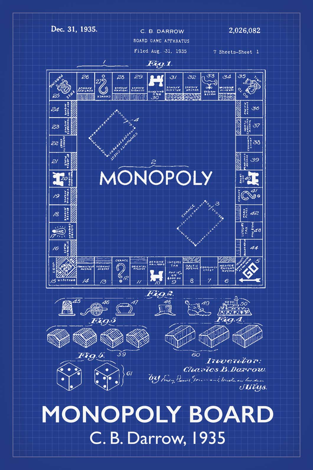 Monopoly Board Game Patent Print - 16X24 Inches / Titled Blueprint / Art Poster