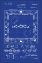 Monopoly Board Game Patent Print - 16X24 Inches / Blueprint / Art Poster