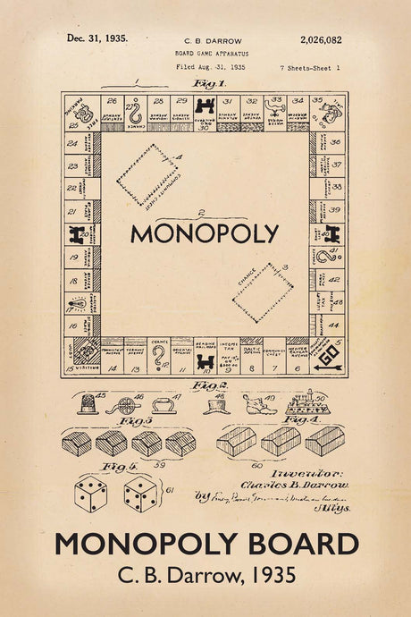 Monopoly Board Game Patent Print - 16X24 Inches / Titled Retro / Art Poster