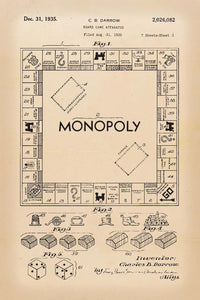 Monopoly Board Game Patent Print - 16X24 Inches / Retro / Art Poster