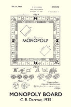 Monopoly Board Game Patent Print - 16X24 Inches / Titled White / Art Poster