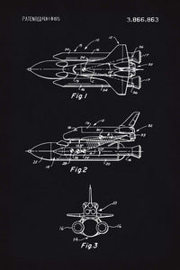Space Shuttle Patent Print - 16X24 Inches / Blackboard / Art Poster