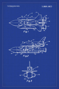 Space Shuttle Patent Print - 16X24 Inches / Blueprint / Art Poster
