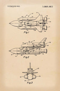 Space Shuttle Patent Print - 16X24 Inches / Retro / Art Poster