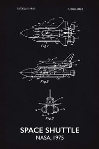 Space Shuttle Patent Print - 16X24 Inches / Titled Blackboard / Art Poster