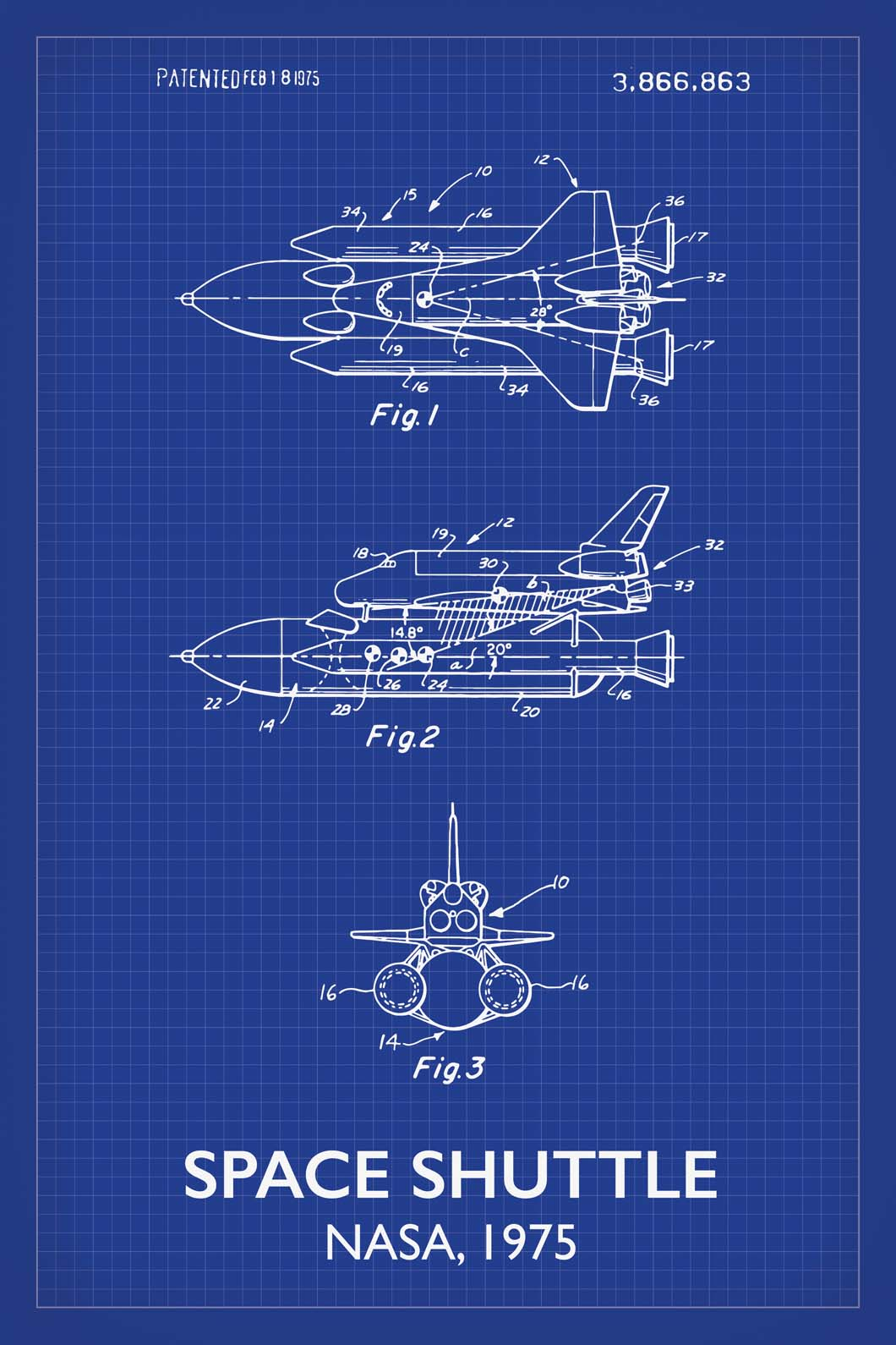 Space Shuttle Patent Print - 16X24 Inches / Titled Blueprint / Art Poster