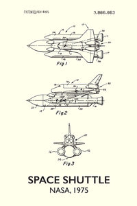 Space Shuttle Patent Print - 16X24 Inches / Titled White / Art Poster