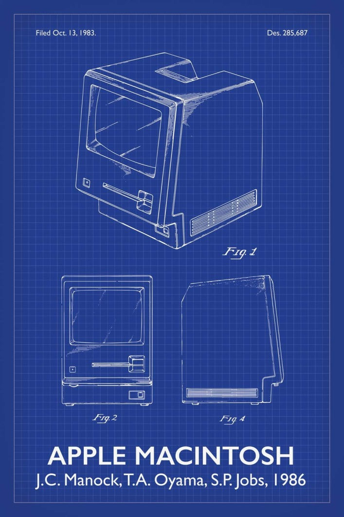 Apple Macintosh Patent Print - 16X24 Inches / Titled Blueprint / Art Poster