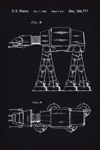 At-At Walker Star Wars Patent Art Print - 16X24 Inches / Blackboard / Poster