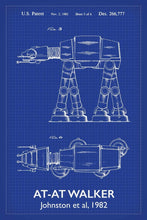 At-At Walker Star Wars Patent Art Print - 16X24 Inches / Titled Blueprint / Poster