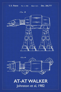 Entertainment and film patent prints canvas art poster prints at at walker star wars patent art print 16x24 inches titled blueprint malvernweather Image collections