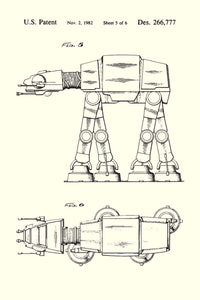 At-At Walker Star Wars Patent Art Print - 16X24 Inches / White / Poster