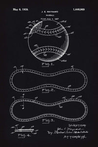Baseball Patent Print - 16X24 Inches / Blackboard / Art Poster