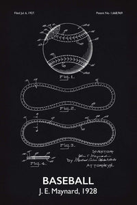 Baseball Patent Print - 16X24 Inches / Titled Blackboard / Art Poster