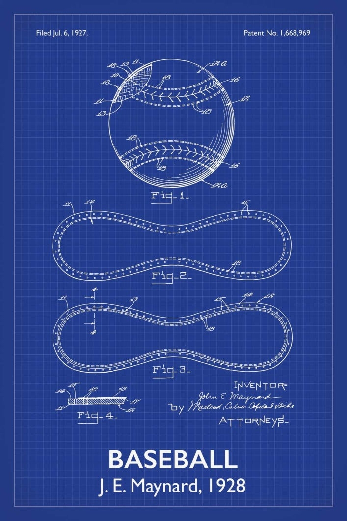 Baseball Patent Print - 16X24 Inches / Titled Blueprint / Art Poster