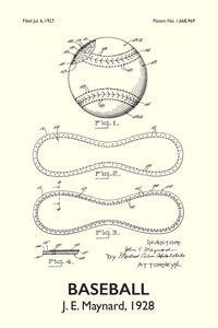 Baseball Patent Print - 16X24 Inches / Titled White / Art Poster