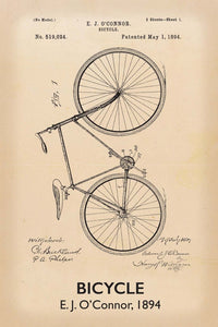 Bicycle Patent Print - 16X24 Inches / Titled Retro / Art Poster