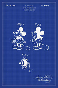 Disneys Mickey Mouse Patent Print - 16X24 Inches / Blueprint / Art Poster