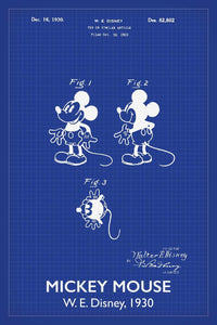 Entertainment and film patent prints canvas art poster prints disneys mickey mouse patent print 16x24 inches titled blueprint art poster malvernweather Image collections