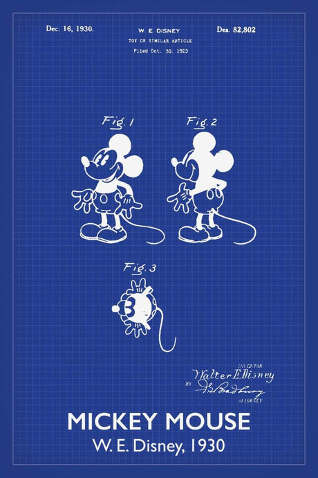 Disneys Mickey Mouse Patent Print - 16X24 Inches / Titled Blueprint / Art Poster