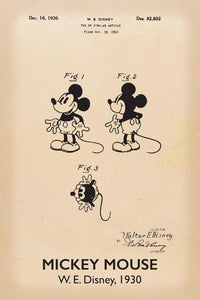 Disneys Mickey Mouse Patent Print - 16X24 Inches / Titled Retro / Art Poster