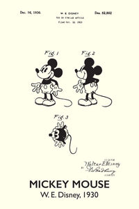 Disneys Mickey Mouse Patent Print - 16X24 Inches / Titled White / Art Poster