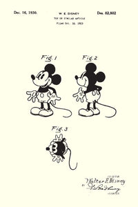 Disneys Mickey Mouse Patent Print - 16X24 Inches / White / Art Poster