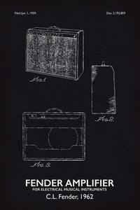 Fender Amp Patent Print - 16X24 Inches / Titled Blackboard / Art Poster