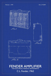 Fender Amp Patent Print - 16X24 Inches / Titled Blueprint / Art Poster