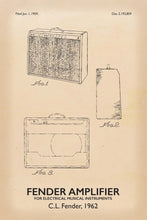 Fender Amp Patent Print - 16X24 Inches / Titled Retro / Art Poster
