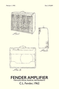 Fender Amp Patent Print - 16X24 Inches / Titled White / Art Poster