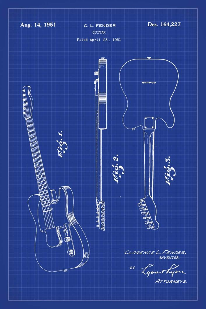 Fender guitar patent print by alto cole blueprint art specialists fender guitar patent print 16x24 inches blueprint art poster malvernweather Gallery