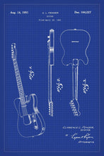 Fender Guitar Patent Print - 16X24 Inches / Blueprint / Art Poster