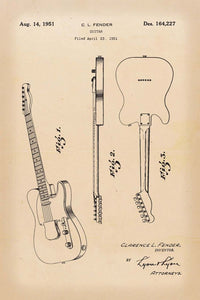 Fender Guitar Patent Print - 16X24 Inches / Retro / Art Poster