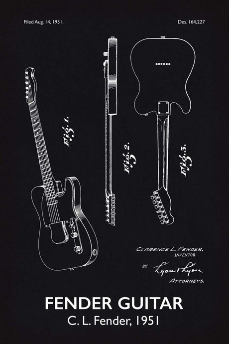 Fender Guitar Patent Print - 16X24 Inches / Titled Blackboard / Art Poster