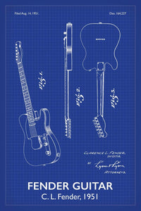 Fender Guitar Patent Print - 16X24 Inches / Titled Blueprint / Art Poster