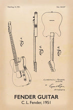 Fender Guitar Patent Print - 16X24 Inches / Titled Retro / Art Poster