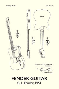 Fender Guitar Patent Print - 16X24 Inches / Titled White / Art Poster