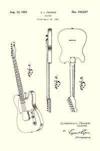 Fender Guitar Patent Print - 16X24 Inches / White / Art Poster