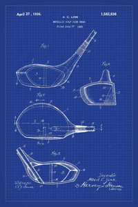 Golf Club Patent Print - 16X24 Inches / Blueprint / Art Poster