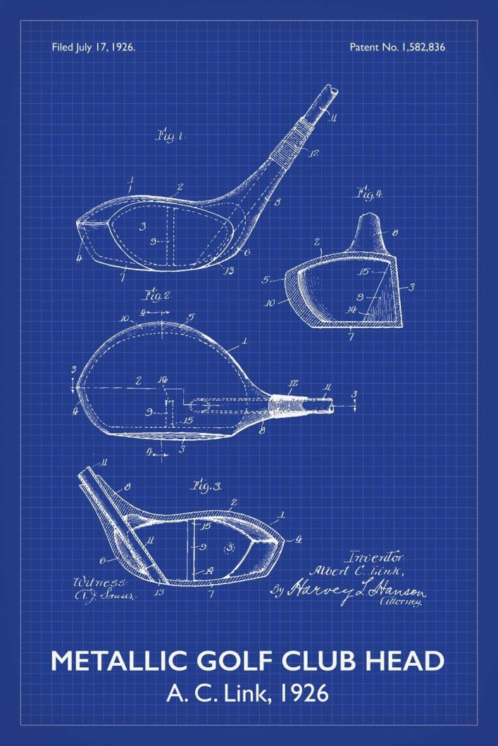 Golf Club Patent Print - 16X24 Inches / Titled Blueprint / Art Poster