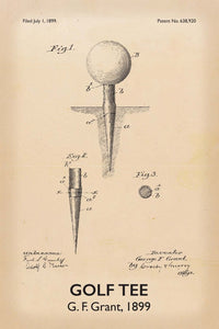 Golf Tee Patent Print - 16X24 Inches / Titled Retro / Art Poster