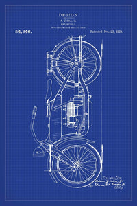 Harley Davidson Motorbike Patent Print - 16X24 Inches / Blueprint / Art Poster