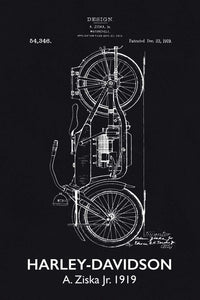 Harley Davidson Motorbike Patent Print - 16X24 Inches / Titled Blackboard / Art Poster