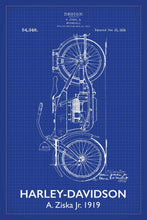 Harley Davidson Motorbike Patent Print - 16X24 Inches / Titled Blueprint / Art Poster