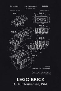Lego Brick Patent Art Print - 16X24 Inches / Titled Blackboard / Poster