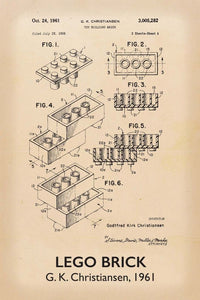 Lego Brick Patent Art Print - 16X24 Inches / Titled Retro / Poster