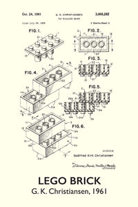 Lego Brick Patent Art Print - 16X24 Inches / Titled White / Poster