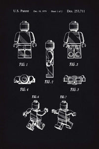 Lego Man Patent Art Print - 16X24 Inches / Blackboard / Poster